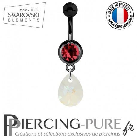 Piercing Nombril Blackline Cristal Rouge Goutte Swarovski Elements Crystal Blue AB