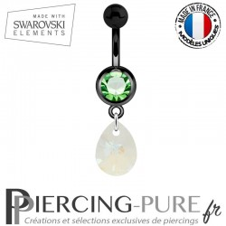 Piercing Nombril Blackline Cristal Vert Goutte Swarovski Elements Crystal Blue AB