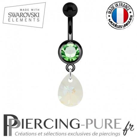 Piercing Nombril Blackline Cristal Vert Goutte Swarovski Elements Crystal Blue AB