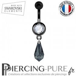 Piercing Nombril Blackline Cristal Blanc Larme Swarovski Elements Crystal Graphite