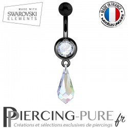 Piercing Nombril Blackline Cristal Blanc Larme Swarovski Elements Crystal AB