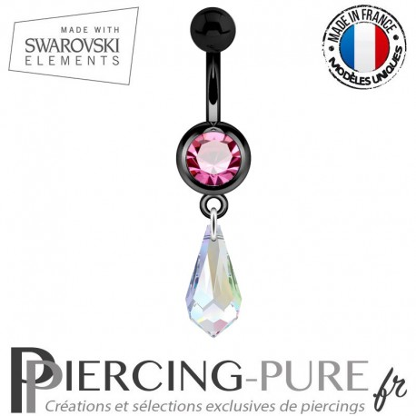 Piercing Nombril Blackline Cristal Rose Larme Swarovski Elements Crystal AB