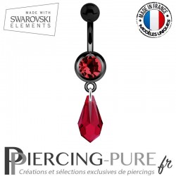Piercing Nombril Blackline Cristal Rouge Larme Swarovski Elements Crystal Scarlet