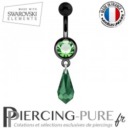 Piercing Nombril Blackline Cristal Vert Larme Swarovski Elements Crystal Emeraude