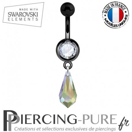Piercing Nombril Blackline Cristal Blanc Larme Swarovski Elements Crystal Paradise Shine