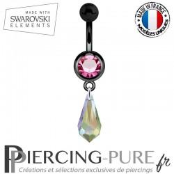 Piercing Nombril Blackline Cristal Rose Larme Swarovski Elements Crystal Paradise Shine