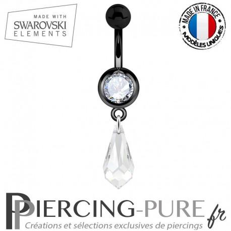Piercing Nombril Blackline Cristal Blanc Larme Swarovski Elements Crystal