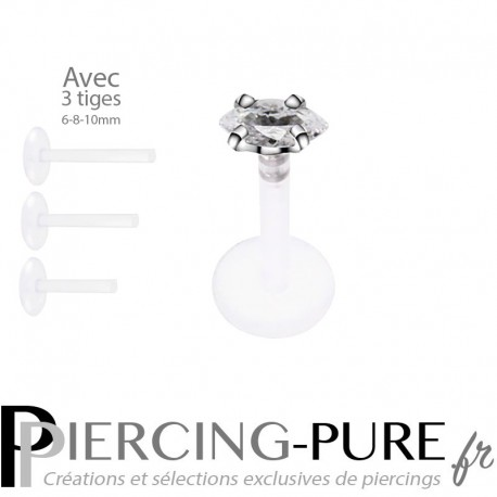 Piercing Labret Marquise blanche griffée 3 tailles