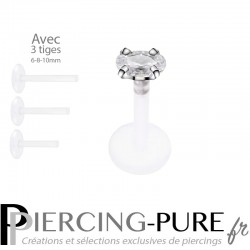 Piercing Labret Ovale blanche griffée 3 tailles