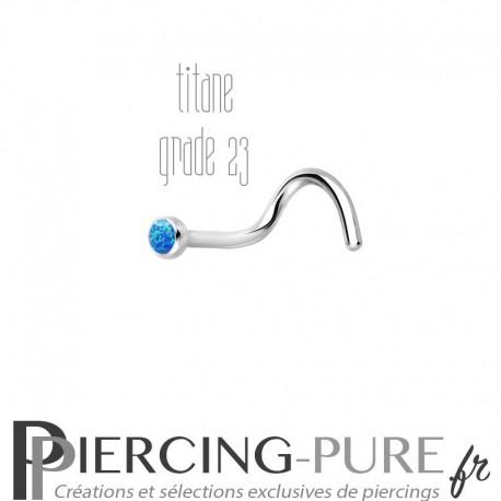 Piercing Nez Titane et opale bleue