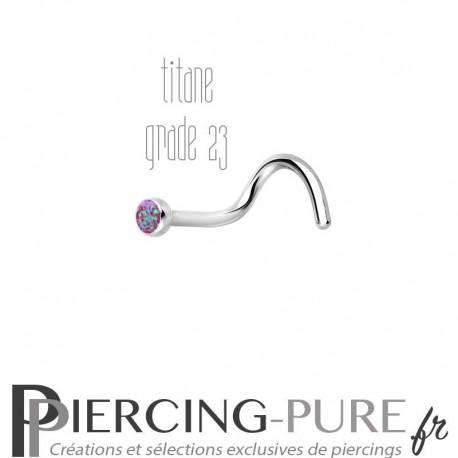 Piercing Nez Titane et opale reflets violets