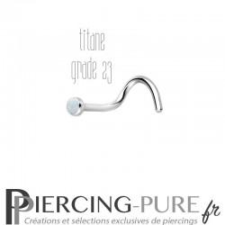 Piercing Nez Titane et opale blanche