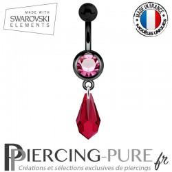 Piercing Nombril Blackline Cristal Rose Larme Swarovski Elements Crystal Scarlet