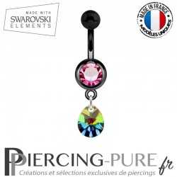 Piercing Nombril Blackline Rose Mini Goutte Swarovski Elements Crystal Vitrail Medium