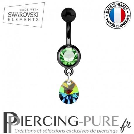 Piercing Nombril Blackline Vert Mini Goutte Swarovski Elements Crystal Vitrail Medium