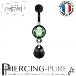 Piercing Nombril Blackline Vert Mini Goutte Swarovski Elements Crystal Jet