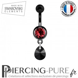 Piercing Nombril Blackline Rouge Mini Goutte Swarovski Elements Crystal Jet