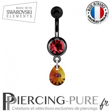 Piercing Nombril Blackline Rouge Mini Goutte Swarovski Elements Crystal Volcano
