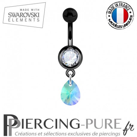 Piercing Nombril Blackline Blanc Mini Goutte Swarovski Elements Crystal Paradise Shine Comet Argent Light