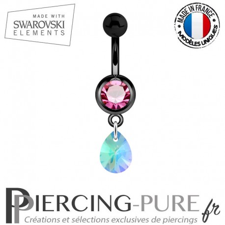Piercing Nombril Blackline Rose Mini Goutte Swarovski Elements Crystal Paradise Shine Comet Argent Light