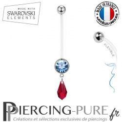Piercing Nombril Grossesse Bleu Larme Swarovski Elements Crystal Scarlet