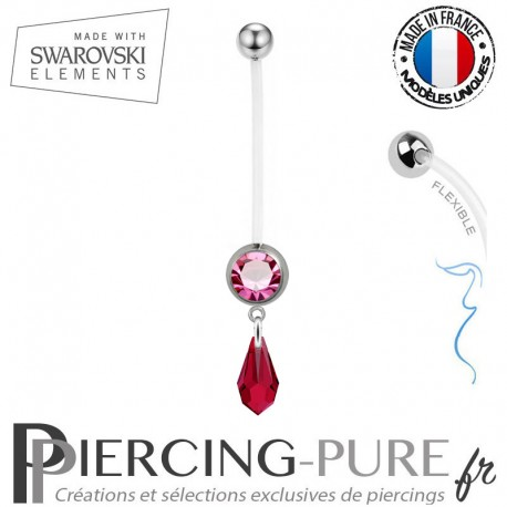 Piercing Nombril Grossesse Rose Larme Swarovski Elements Crystal Scarlet
