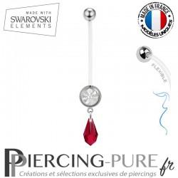 Piercing Nombril Grossesse Blanc Larme Swarovski Elements Crystal Scarlet