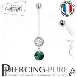 Piercing Nombril Grossesse Blanc Xilion Swarovski Elements Crystal Emeraude
