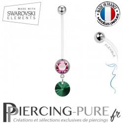 Piercing Nombril Grossesse Rose Xilion Swarovski Elements Crystal Emeraude
