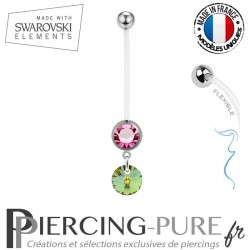 Piercing Nombril Grossesse Rose Xilion Swarovski Elements Crystal Sahara