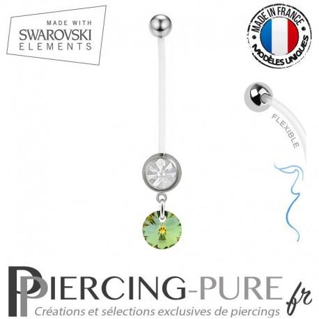 Piercing Nombril Grossesse blanc Xilion Swarovski Elements Crystal Sahara