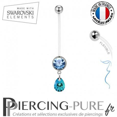 Piercing Nombril Grossesse bleu Mini Poire Swarovski Elements Crystal Bermuda Blue