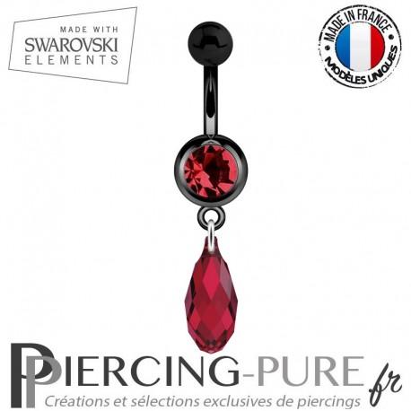 Piercing Nombril Blackline Rouge Briolette Swarovski Elements Crystal Scarlet