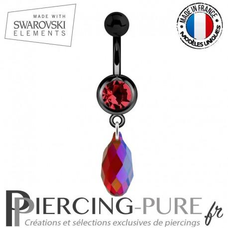 Piercing Nombril Blackline Rouge Briolette Swarovski Elements Crystal Siam Shimmer