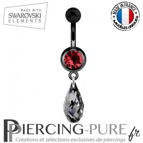 Piercing Nombril Blackline Rouge Briolette Swarovski Elements Crystal Light Chrome