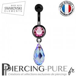 Piercing Nombril Blackline Rose Briolette Swarovski Elements Crystal Tanzanite Shimmer