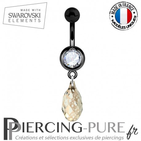 Piercing Nombril Blackline Blanc Briolette Swarovski Elements Crystal Rose Patina