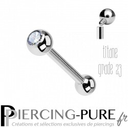 Piercing Langue Titane Pierre blanche 4mm - interne