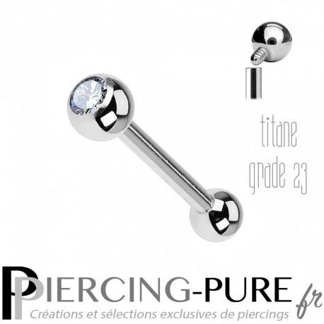Piercing Langue Titane Pierre blanche 4mm - interne
