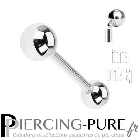 Piercing Langue Titane Billes 5mm - Pas de vis interne