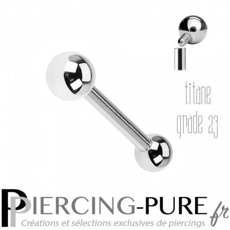 Piercing Langue Titane Billes 4mm - Pas de vis interne
