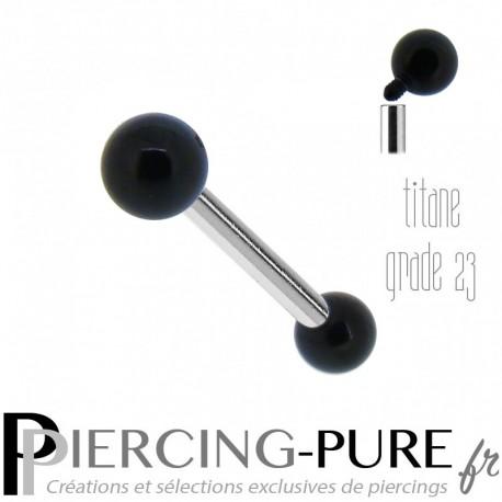 Piercing Langue Titane Billes acier noir 4mm - Pas de vis interne