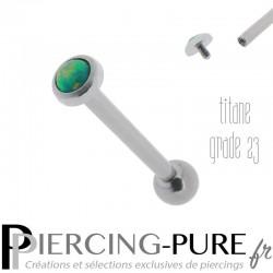 Piercing Langue Titane interne Opale verte 4mm