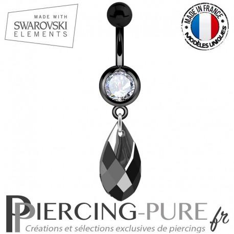 Piercing Nombril Blackline Swarovski Elements Poire Jet Light Chrome