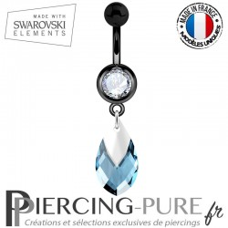 Piercing Nombril Blackline Swarovski Elements Poire Aquamarine Light Chrome