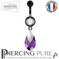 Piercing Nombril Blackline Swarovski Elements Poire Amethyst Light Chrome