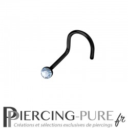Piercing Nez Blackline cristal bleu clair