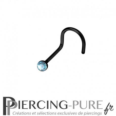 Piercing Nez Blackline cristal bleu turquoise