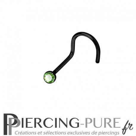 Piercing Nez Blackline cristal vert