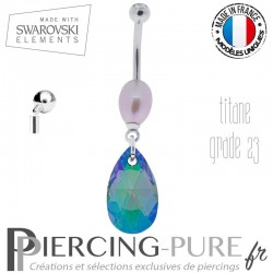 Piercing Nombril Titane interne Paradise Shine Comet Argent Light et perle naturelle